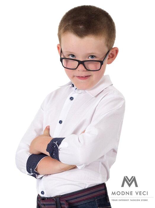 2b16bed16a48 Detská chlapčenská košeľa VS-PK-1709-B biela SLIM-FIT