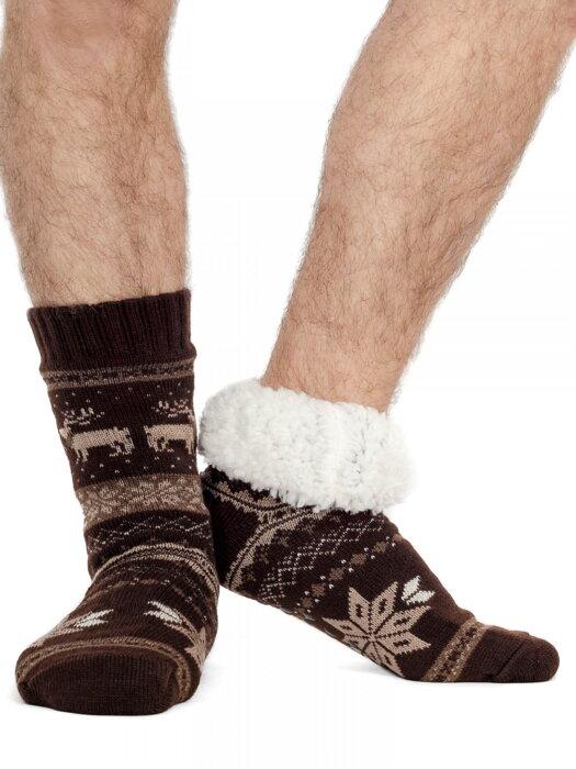 671e37d81e9 Pánske termo ponožky - protišmykové 18 sobík tmavohnedé