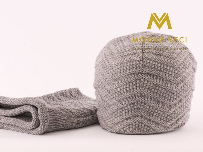 9419d085f Pánsky set čiapka + nákrčnik sivý Alex 10