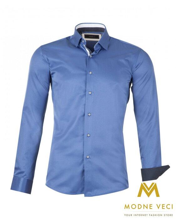 b4d4e92392b7 Luxusná pánska košeľa tmavo modrá SLIM FIT STRIH 1522-8