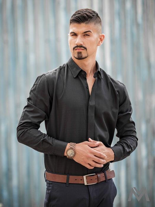 f2b1acd6eee1 Luxusná pánska čierna košeľa VS-PK-1708