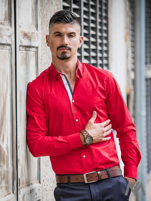 aa9122d0740e Luxusná pánska červená košeľa s bodkou VS-PK-1734