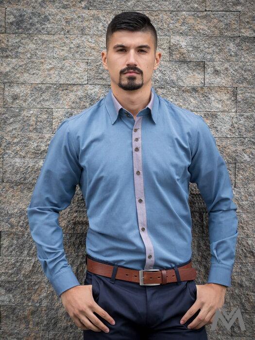 2f41f3a46651 Luxusná pánska košeľa v jeansovo modrej farbe VS-PK-1737