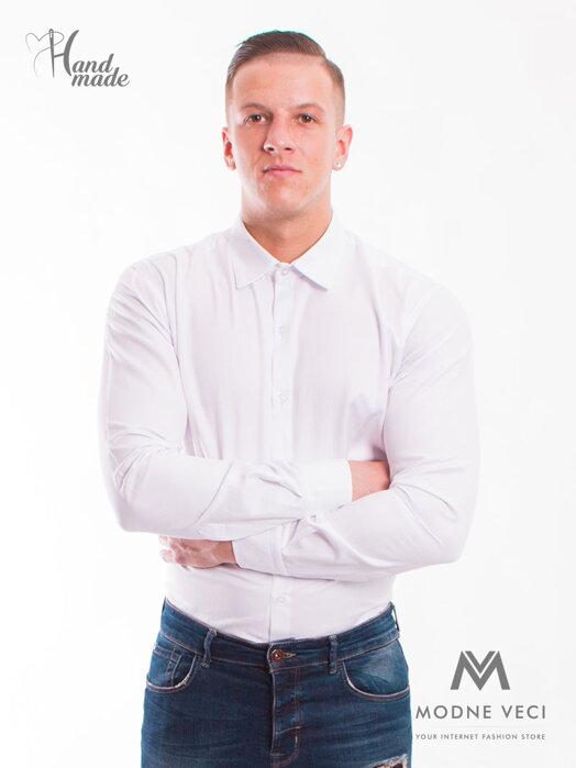d869215ff0eb Klasická biela mierne lesklá košeľa v strihu SLIM FIT VS-PK-1714