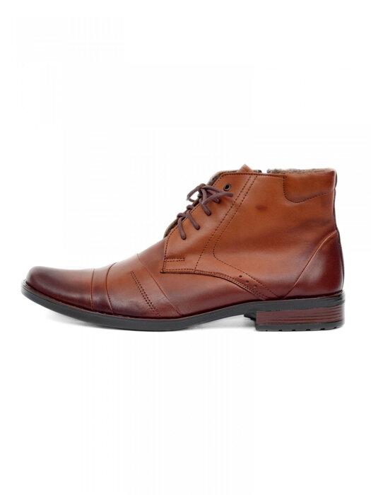 8e71c39092ae Elegantné kožené topánky pre muža na zimu 85C hnedé