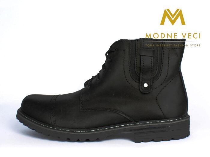 Kožené topánky pre muža na zimu 87C čierne b0c53374641