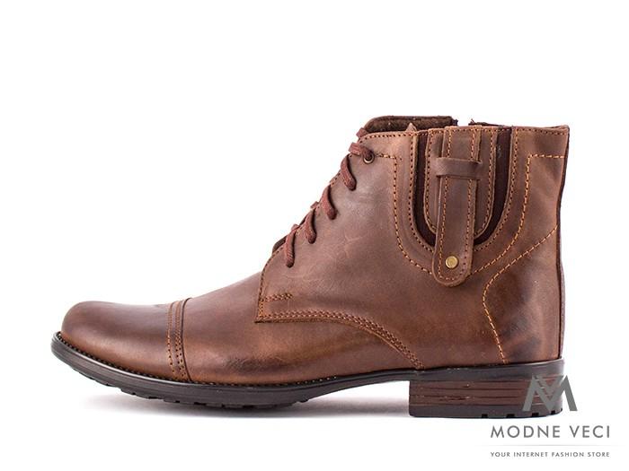 0da07884bd Pánske elegantné kožené topánky zimné 87-C hnedé