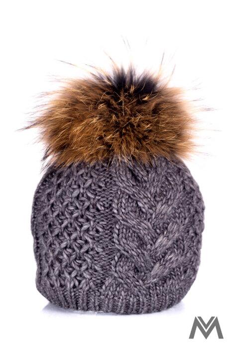 367f6091dd74 Dámska čiapka s brmbolcom z pravej kožušiny Ania -tmavo šedá