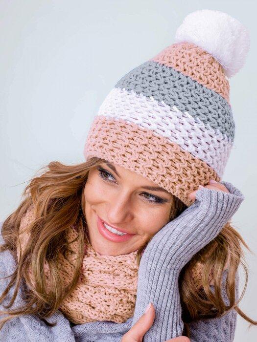 cd80f6419 Zimný set čiapka+šál v kapučínovej farbe