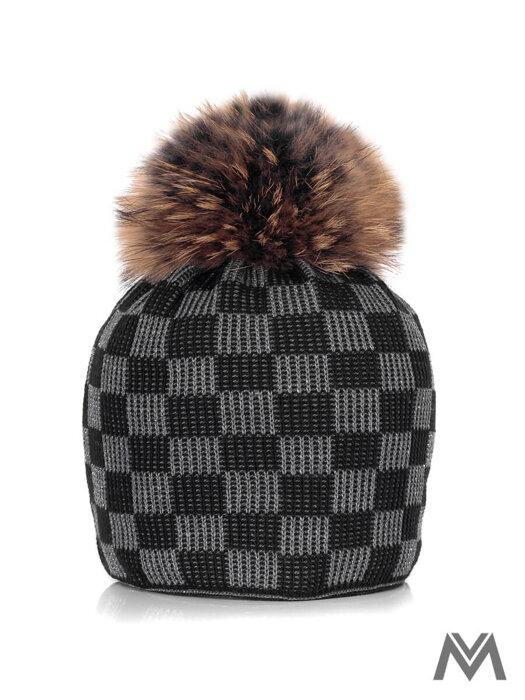 f9a6d2a4b107 Dámska čiapka s pravým brmbolcom MAGNUS so šachovnicovým vzorom