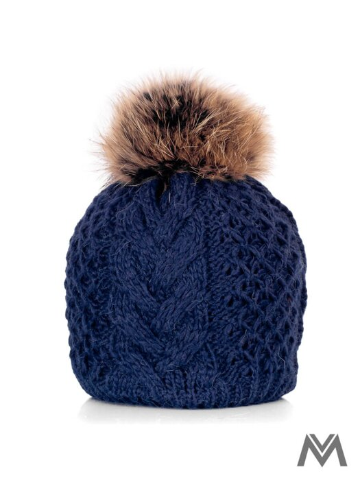 08c37d560 Dámska čiapka s brmbolcom z pravej kožušiny Ania tmavo modrá