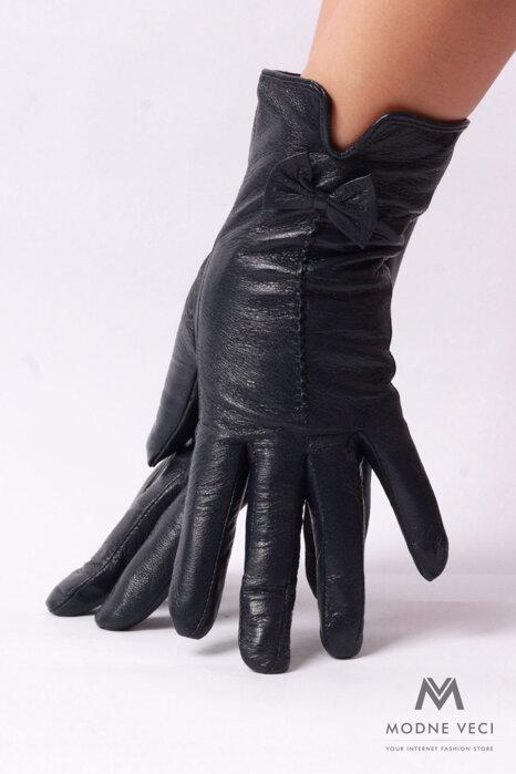e34e5140dd32 Dámske kožené rukavice -tmavo-modré s mašličkou