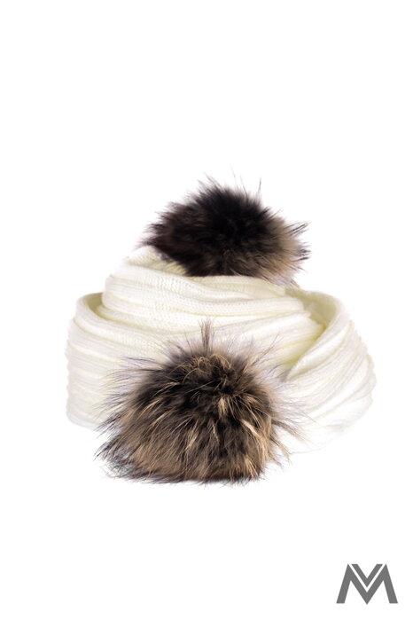 d24db7235 Dámsky pletený šál s brmbolcami ANDREA maslový