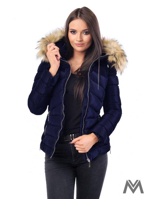 a8e5fa47967e Dámska zimná bunda prešívaná tmavomodrá M-210A- matná