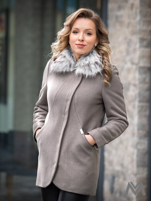Dámsky elegantný kabát s kožušinkou DEYSI- sivý 1af8099a13d