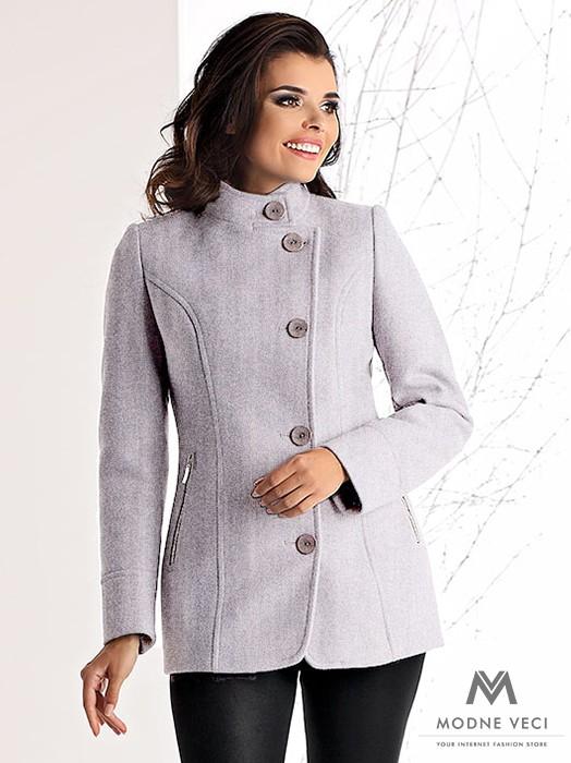 Luxusný krátky kabát OKSANA sivý melír 1ba7f2457af