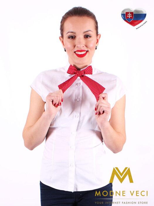 17e56b7f294c Biela dámska košeľa s mašličkou Slim Fit VS-DK1721 - červená s bodkami