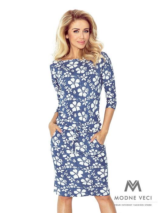 61bfe498e6 Dámske šaty 13-62 modré s kvetinovým vzorom