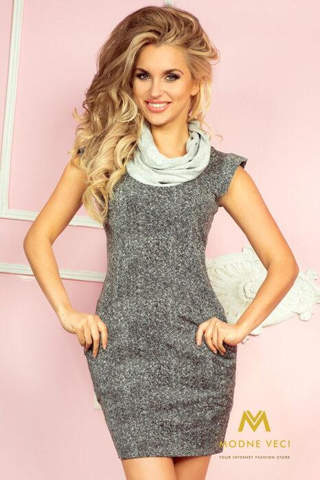 Dámske šaty pletené s s vreckami a krátkymi rukávmi 48-1 Golf cc520399234