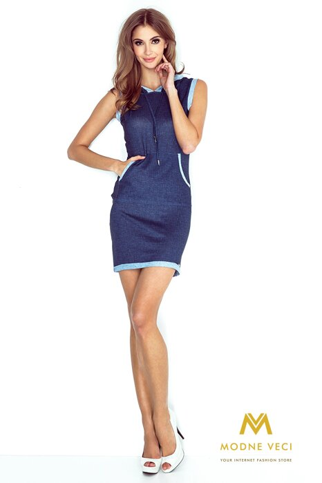 Športové šaty s kapucňou MM 009-3 tmavomodré 9a380654206