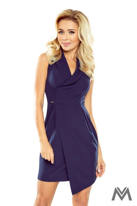 13582b686a85 Elegantné dámske šaty so širokým golierom 153-3 tmavo modré
