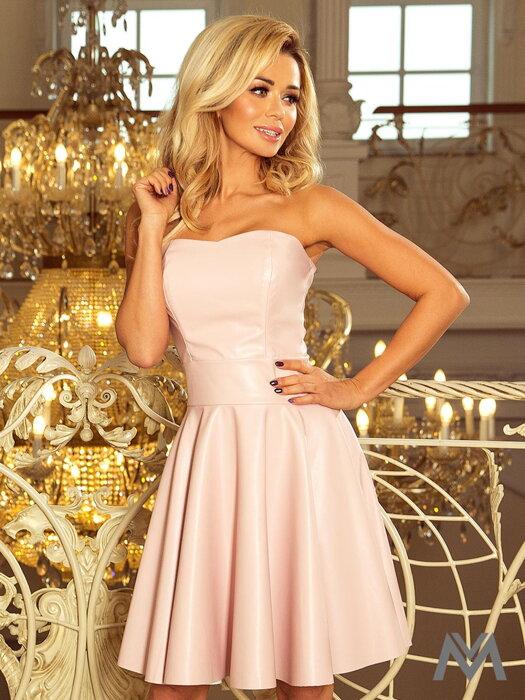 2d0730dc8 Dámske kožené šaty 83-3 pastelovo ružové