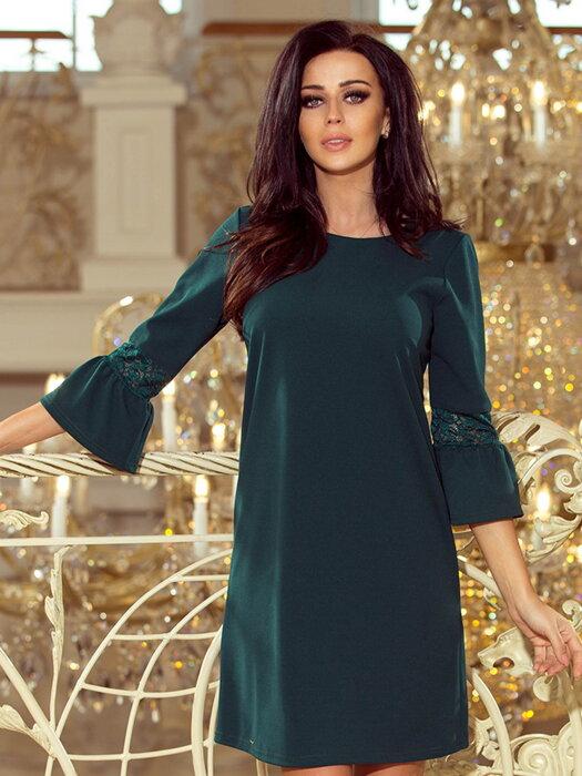 Dámske šaty s rozšíreným rukávom Margaret 190-7 smaragdovo zelené 86d5b9d8f47