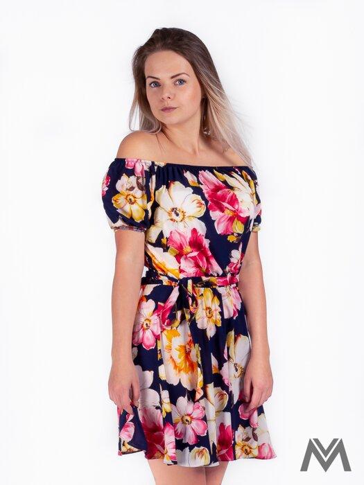 8dd3f09e04ef Dámske šaty na leto v tmavomodrej farbe s kvetinovým vzorom