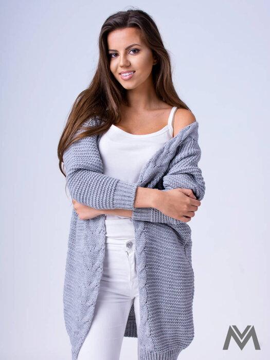 bafeaad4a971 Dámsky pletený sveter HENA- svetlo sivý