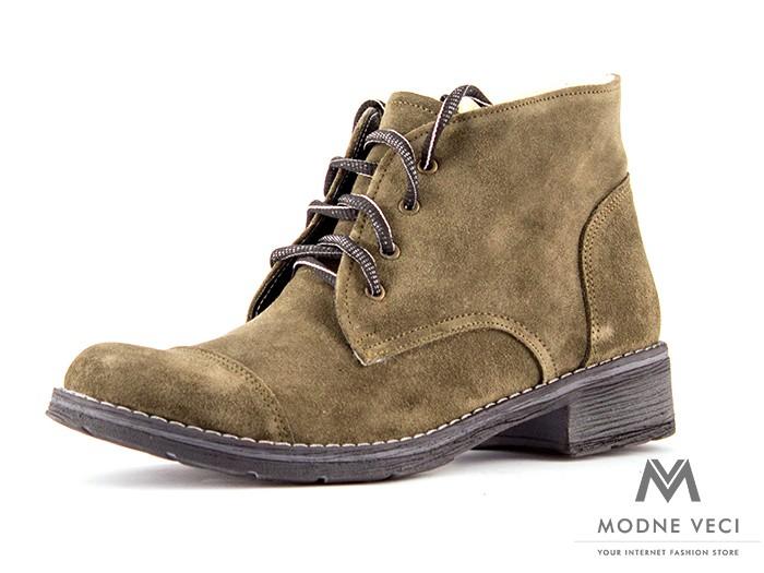1b45fbccf7a5 Dámske kožené topánky na zimu kotnik 05 zelena oliva