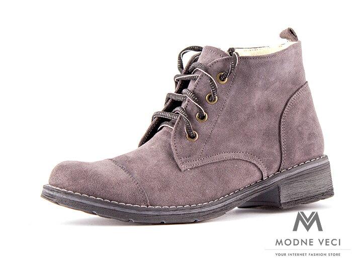 3d63348d9c53 Dámske kožené topánky na zimu kotnik 05 sivé