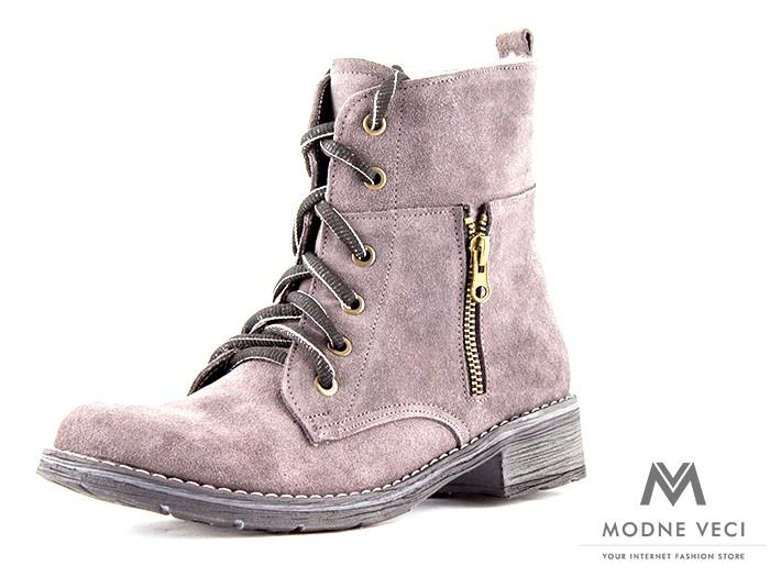2350afe7bf Dámske kožené topánky na zimu kotnik vyšší 04 siva