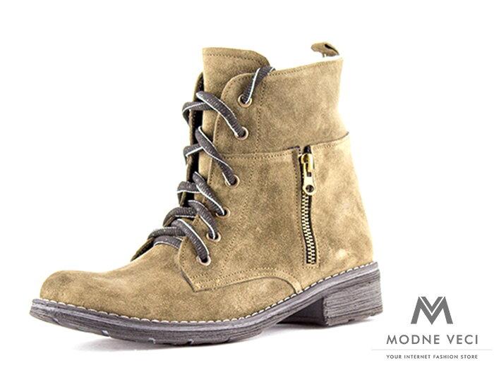 bda0a47ddc53 Dámske kožené topánky na zimu kotnik vyšší 04 zelena oliva