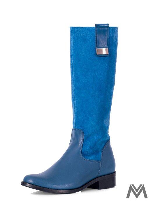 Čižmy z pravej kože EMA pliešok modrá 0067a637a7a
