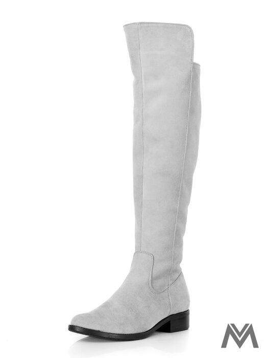 b1c57c180615 Vysoké čižmy nad kolená z pravej kože Ema 040 šedá