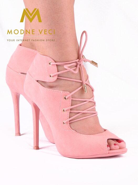 Moderné topánky s viazaním v ružovej farbe 5021-20 cd72206a783