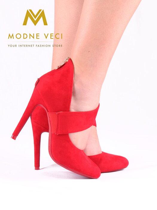 79042dd445ff Krásne červené topánky na ihličkovom podpätku 1130-19