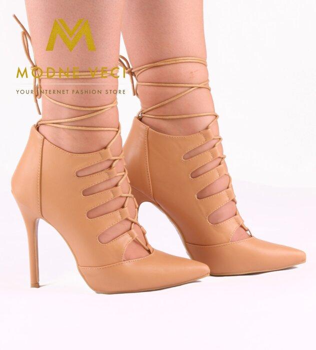 Trendy topánky na šnurovanie 11033-14 béžová d5851af6c1c