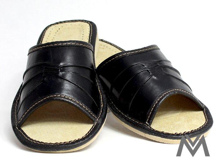 89d1727eeee3 Dámske kožené papuče model 2 čierne