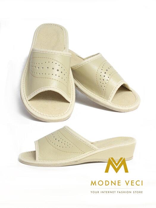 84caabeb5a Dámske kožené papuče model 45 béžové