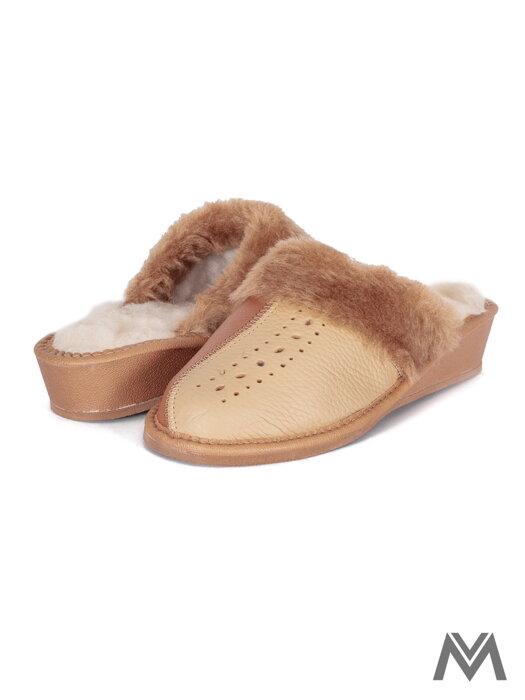 901e2567a Dámske kožené papuče model 41 oranžové prešívané opätok