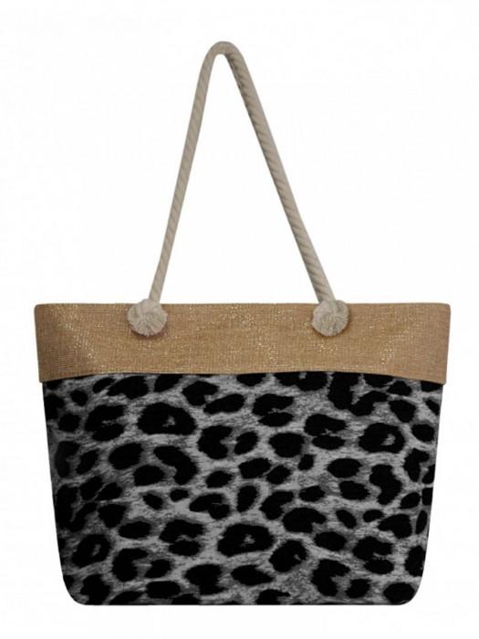 a66f2d4418a34 Dámska plážová taška PAUL ROSSI 01 s gepardím vzorom sivá
