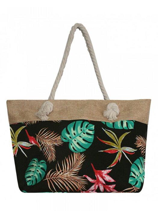 53bcdbb675e8a Dámska plážová taška PAUL ROSSI 05 s tropickým vzorom čierná